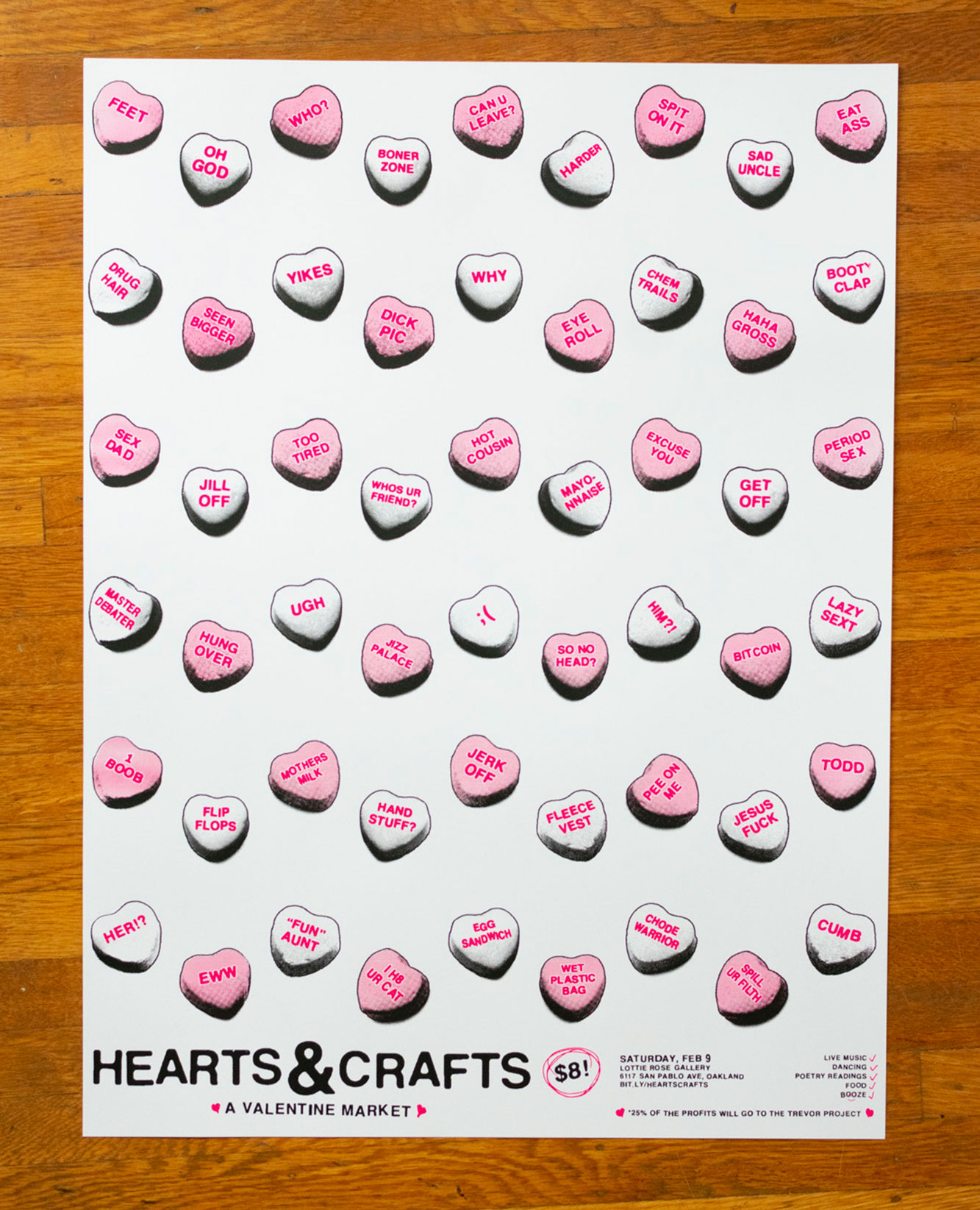 """""""Hearts & Crafts"""" art show poster"""